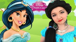 Costume Disney Princess Jasmine & Kids Makeup Alisa Pretend Play with DOLL & Real Princess Dresses