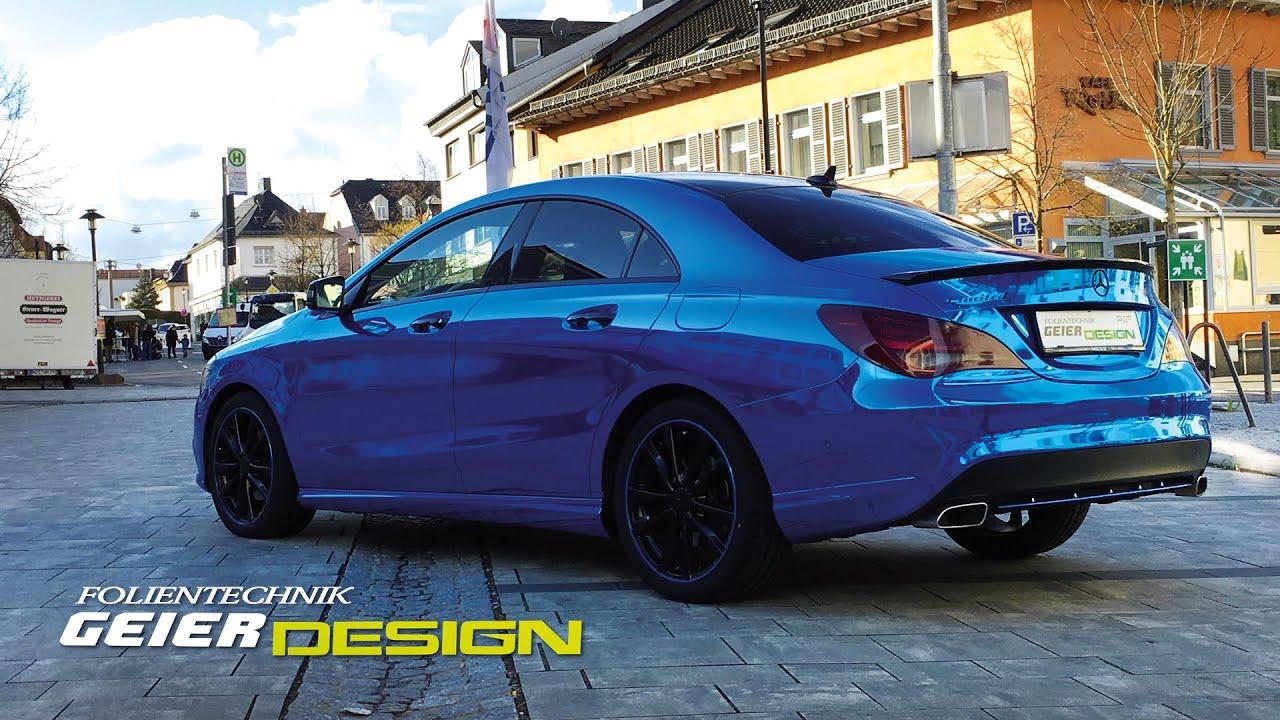 Mercedes Benz Cla Vollverklebung In Blau Chrom Von Avery