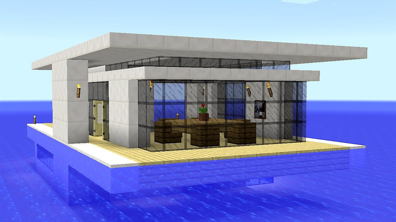 Minecraft how to build a modern floating house youtube for How to build a modern house