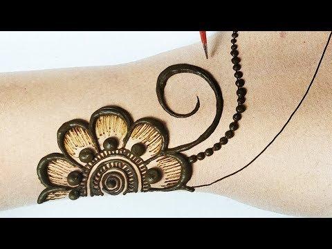 आसान शेडेड मेहँदी लगाना सीखे - सूंदर गोल टिक्की मेहँदी लगाएं - Stylish Shaded Flower Mehndi Design