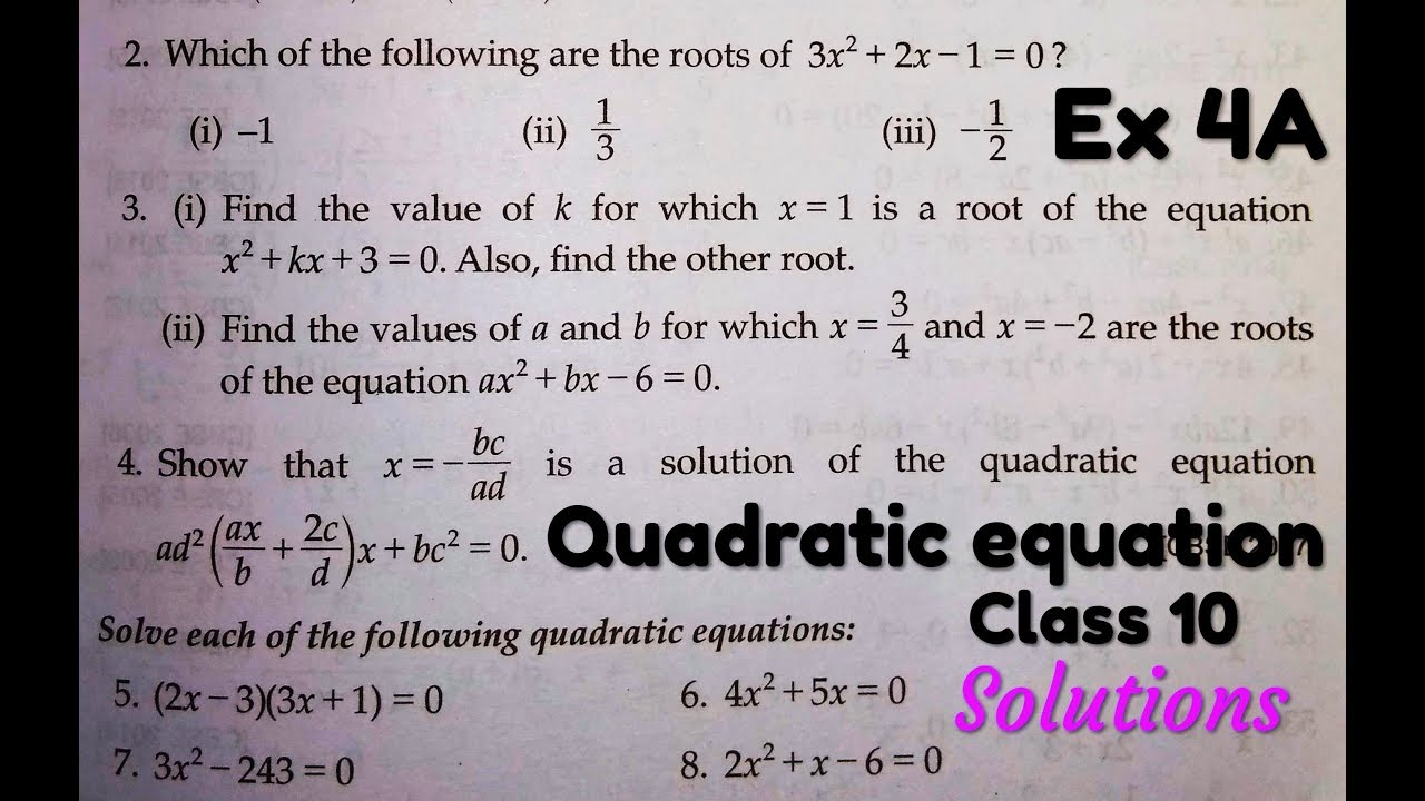 rs aggarwal class 10 solutions quadratic equations