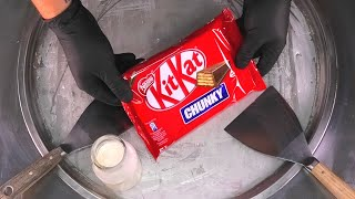 KitKat Chunky Ice Cream Rolls | Fried Thai rolled ice cream roll with KitKat Chocolate Bar | ASMR