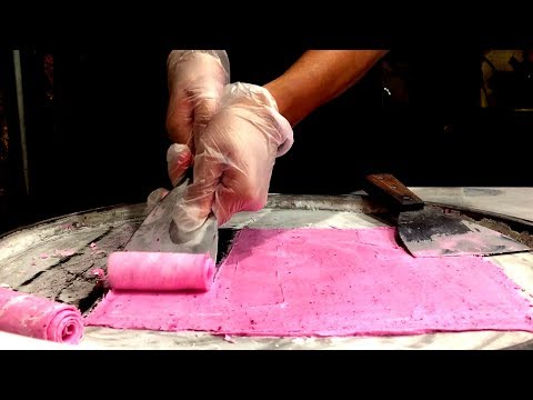 ICE CREAM ROLLS | Dragon Fruit / Fried Thailand Ice Cream rolled in New York (Juicy Spot)