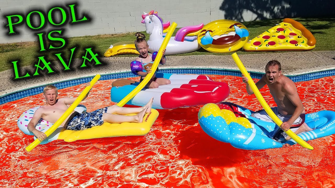 The Pool Is Lava Challenge Riding On Giant Pool Toys