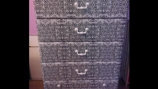 Diy: Zebra Print On Laminate Wood Dresser (no Painting Required) Under $10!