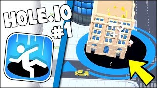 EATING THE BIGGEST SKYSCRAPER EVER!! Hole.io Gameplay Walkthrough Part 1 (Agar.io / Slither.io)