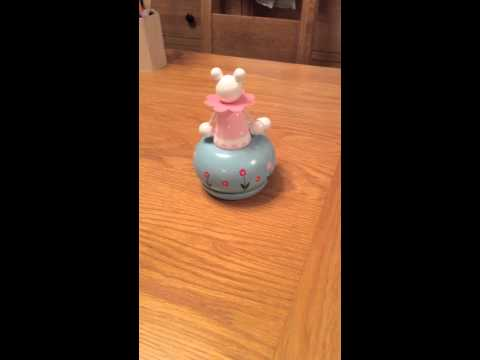 Pink Mouse Music box - Christening gift