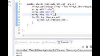 Tutoriales Java - Crear ArrayList, añadir objetos y mostrarlos por pantalla