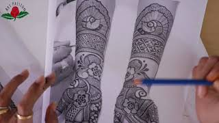 Layout and design tutorial for Intricate latest peacock mehndi : inspired by artist Chetan panchal