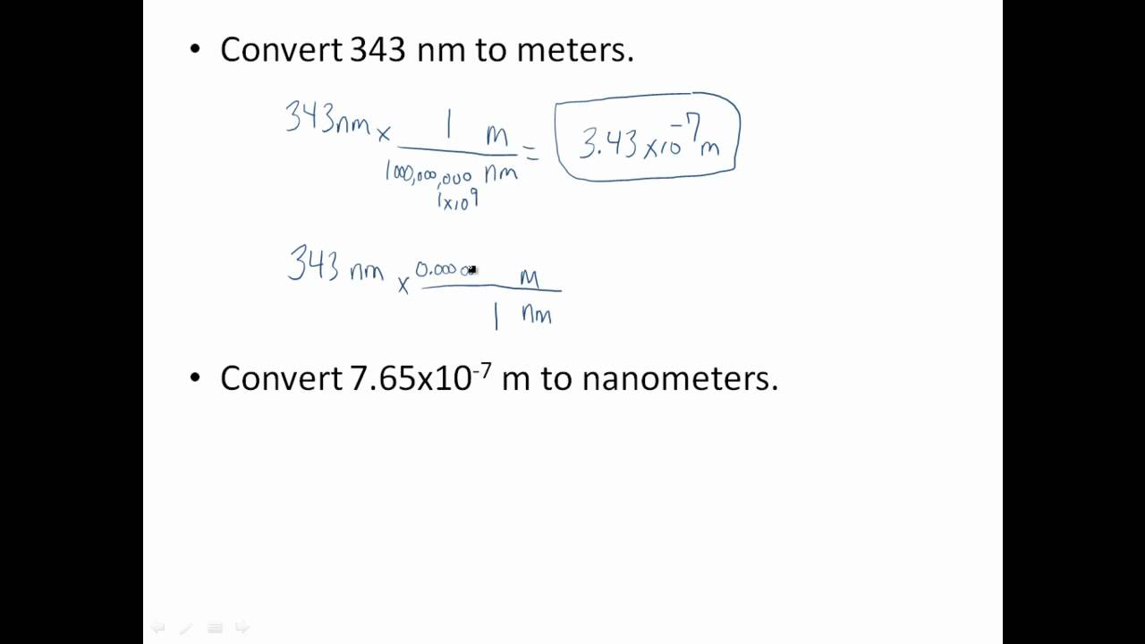 Meters Nanometers Conversions Youtube