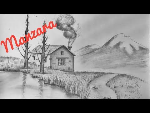 Çok Güzel Bir Dağ Evi   Karakalem Manzara Resmi Çizimi Nasıl Yapılır