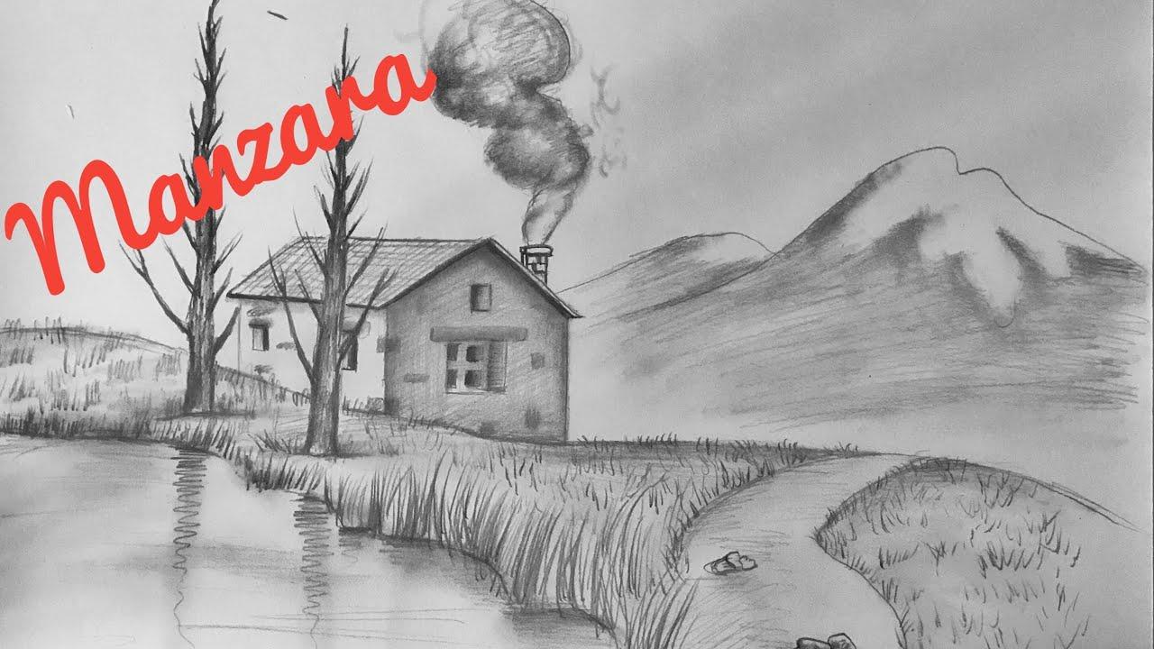 Karakalem Manzara Resmi Cizimi Nasil Yapilir Kara Kalem Cizim Teknigi Kolay Manzara Youtube