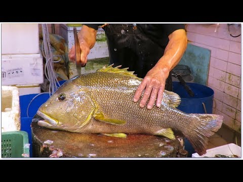 Hong Kong Seafood Cutting Alive Biggest Grouper (Lutjanus Rivulatus, Star Snapper) At Seafood Market