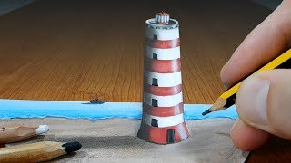 3D Trick Art on Paper   Lighthouse   Optical Illusion