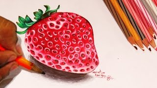Draw strawberry color pencil version step by step Video(http://arts.owedia.com Hello friends, tell me, do you like strawberry? I know you will say yes, and then if you have a painting of strawberry you will surely like, am I ..., 2015-06-24T08:50:15.000Z)