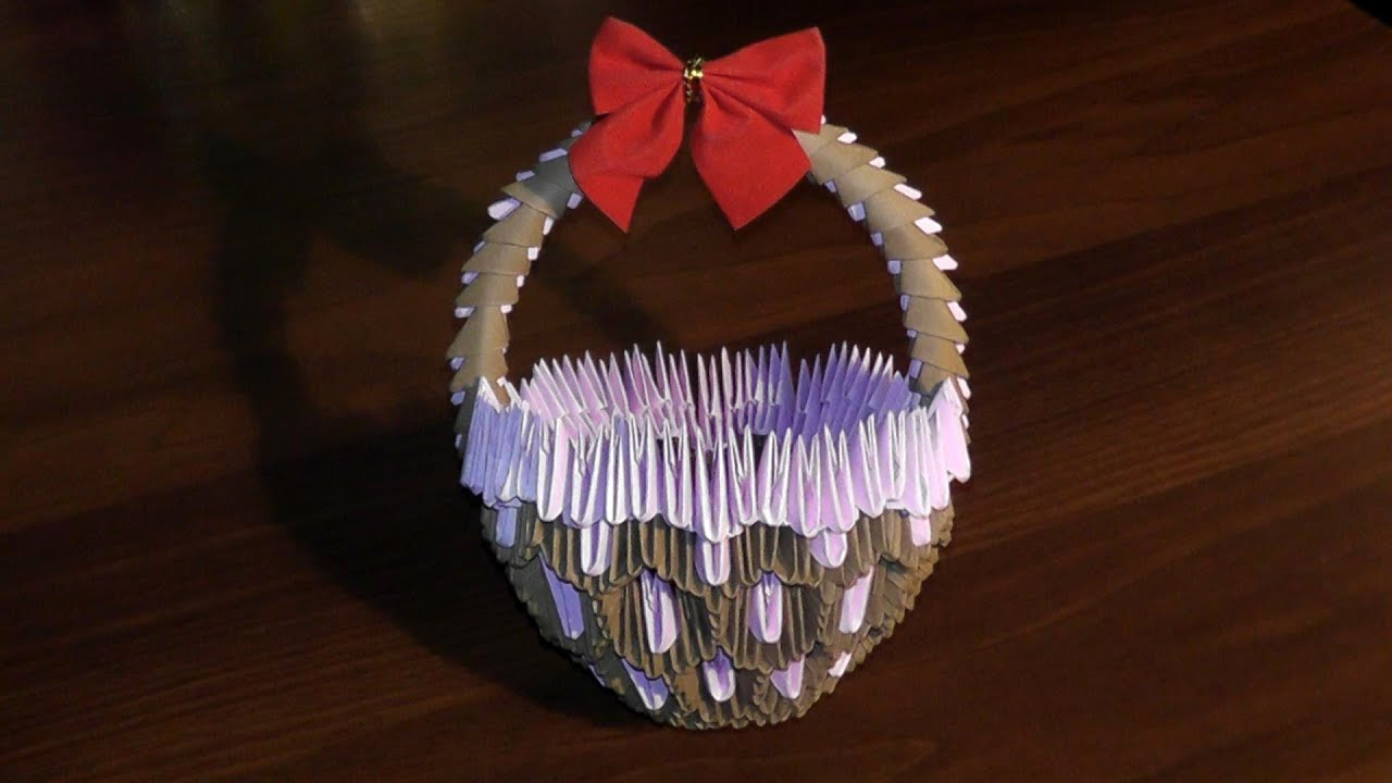 3D origami basket with handle master class (tutorial)  YouTube