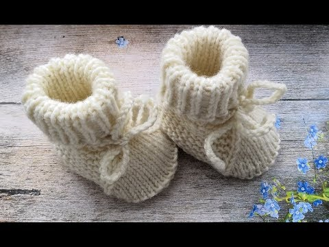 Вяжем спицами пинетки для новорожденных от 0 до 6 месяцев