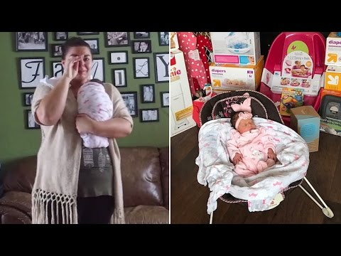 Thumbnail: Mom Cries Tears Of Joy As Secret Santa Surprises Her With Gifts For Adopted Baby