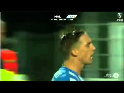 Nicki Bille nets 94th minute equaliser for Esbjerg; Celebrates by necking a fans pint