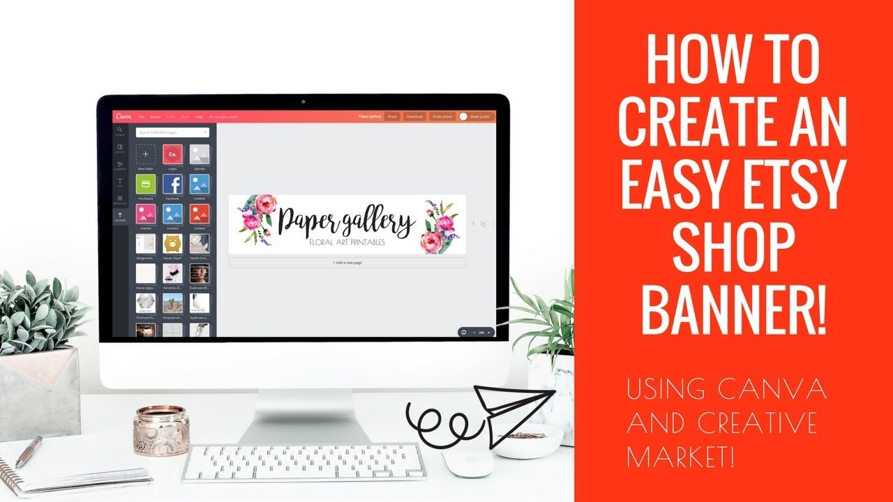 How to create an easy Etsy shop banner  | How to legally source graphics! | Create an Etsy Shop!
