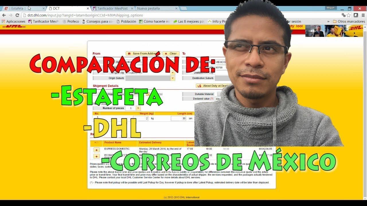 Dhl Estafeta Y Correos De México O Mexpost Comparación Youtube