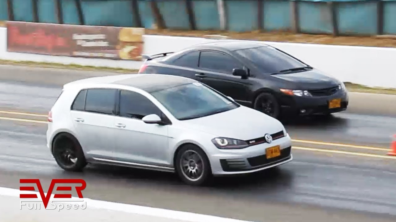 Honda Civic Vs Volkswagen Golf Gti Drag Races Youtube