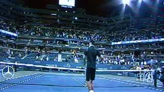 Novak Djokovic Autographs Tennis Balls And HIts Them To US Open Crowd!