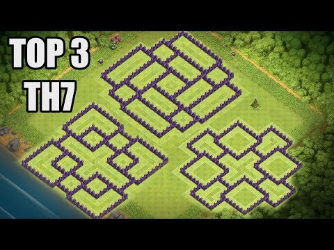 Top 3 Clash of Clans TH7 Base CoC Town Hall 7 War & Hybrid Base 2017