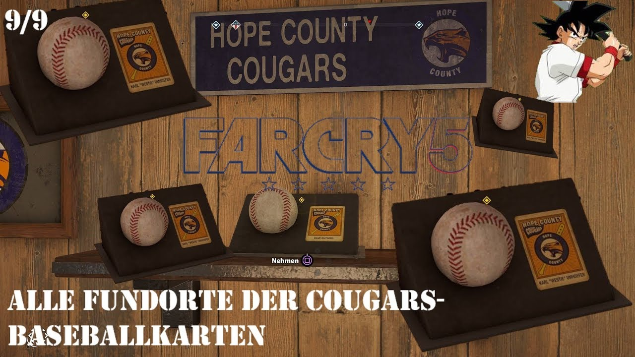 Far Cry 5 Wolfsköder Karte.Far Cry 5 Grand Slam Alle Cougars Baseballkarten Fundorte Baseball Card Locations