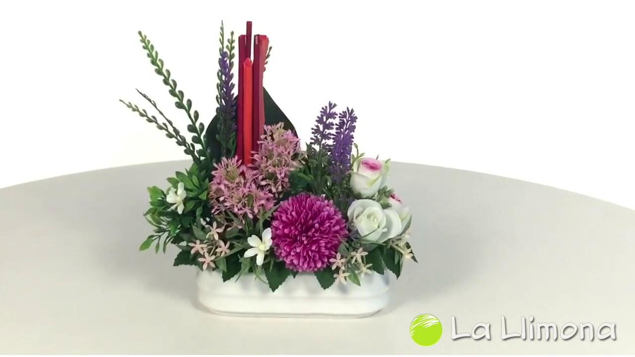 Arreglos Florales Jardinera Cerámica Flores Silvestres Y Rosas Artificiales
