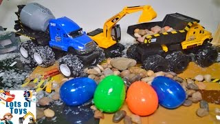 Putty Eggs Maisto Quarry Monsters, Monster Trucks,  Mighty Machines Cement Mixer, Dump Truck