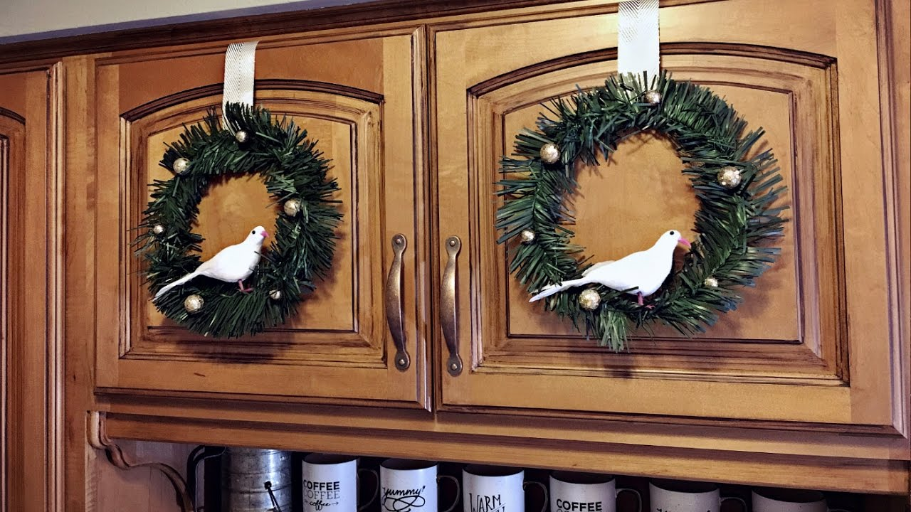 mini bird cabinet christmas wreaths kitchen christmas decorating christmas diy youtube