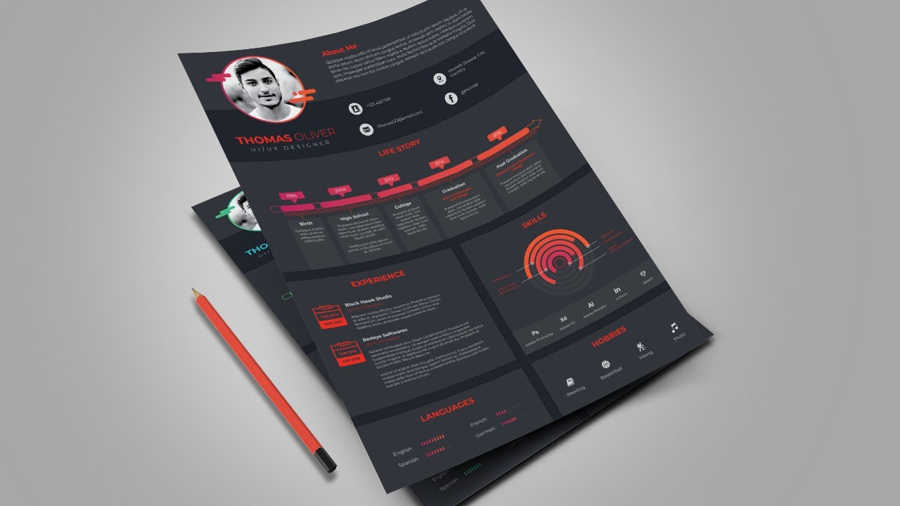 ui  ux designer resume design in adobe illustrator cc  complex version