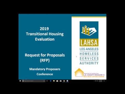 2019 Transitional Housing Evaluation RFP—Proposers Conference Webinar