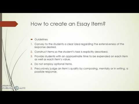 Essay Test: How to Build them and How to Score Them