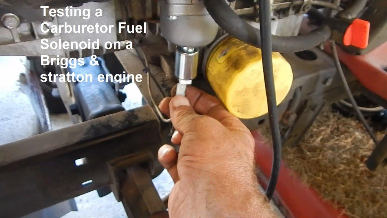 Testing a Carburetor Fuel Solenoid on a Briggs & Stratton engine