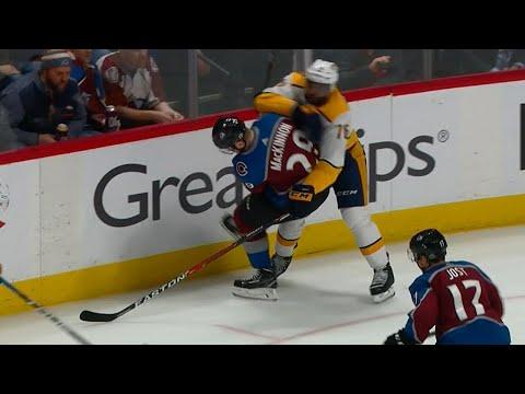 Subban elbows MacKinnon in the head, scrum ensues