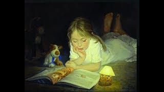 Просто, как в детстве. Построили домик из одеял и читаем с фонариком под одеялом.