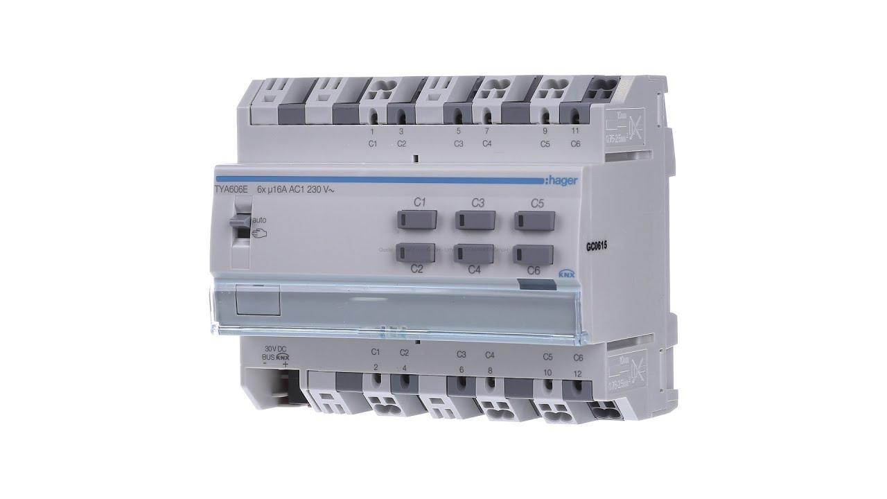 Hager KNX Schaltausgang 6-fach TYA606E mit Stromerkennung - YouTube