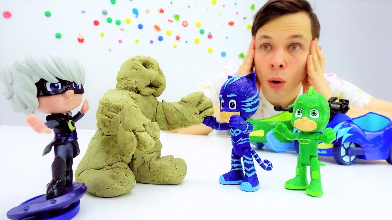 Герои в масках: видео с игрушками! Лунная Девочка захватила город! Кетбой и Гекко спешат на помощь!