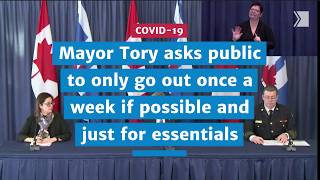 Mayor Tory asks public to only go out once a week if possible | COVID-19