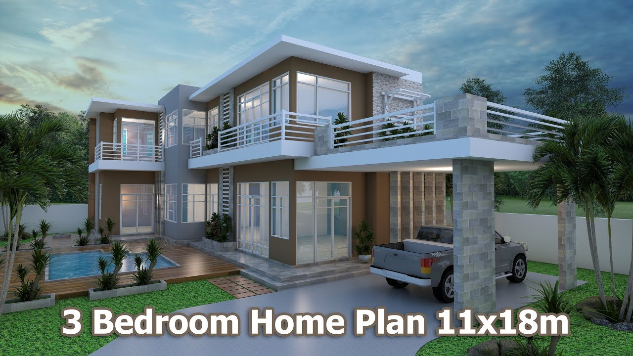 Home design 3d Sketchup Villa design plan 11x18m - YouTube