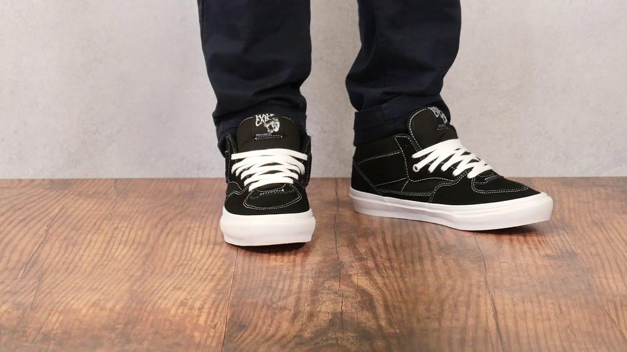 Vans 'Half Cab' Black White Colour way On Feet
