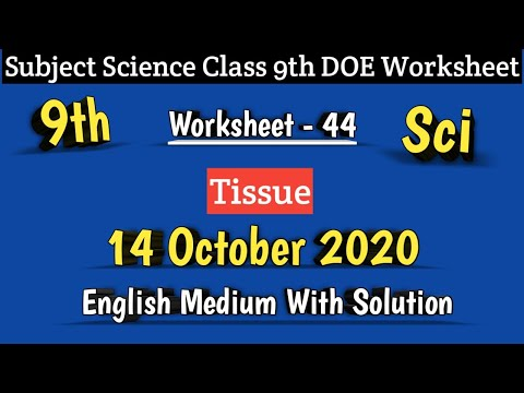 Class 9 Worksheet 44 Science I DOE Worksheet 44 I 14 Oct 2020 I English Medium I Science