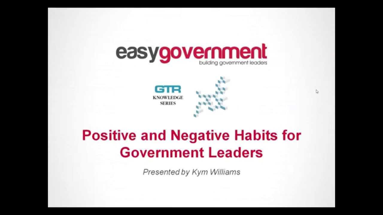 Download Positive and Negative Habits for Government Leaders