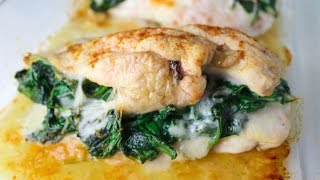 HOW TO MAKE STUFFED SPINACH & PROVOLONE CHICKEN! ( MY FIRST VIDEO )