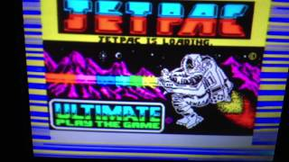 Sinclair ZX Spectrum emulation (Jetpac) - Spectaculator, MacBook Pro, analog TV, iPad
