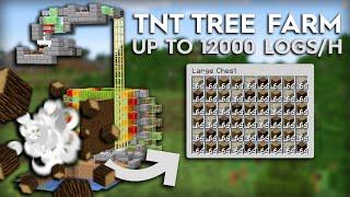 Minecraft TNT Tree Farm - Fully Automatic - Oak, Birch, Spruce, Jungle logs - Tutorial 1.15