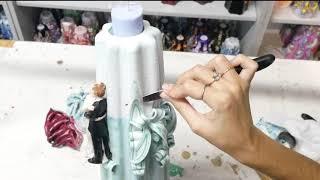 Свадебная свеча 30 сантиметров с фигурками молодоженов от Свечной мастерской ДИМСИ