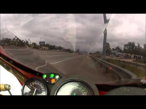 Ducati 916 throttle stuck on highway.